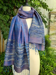 NTS086a Thai Silk Hand Woven Colorful Shawl
