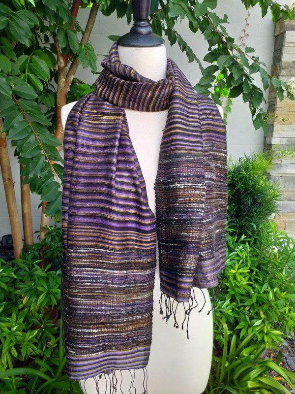 NTS952a Thai Silk Hand Woven Colorful Shawl