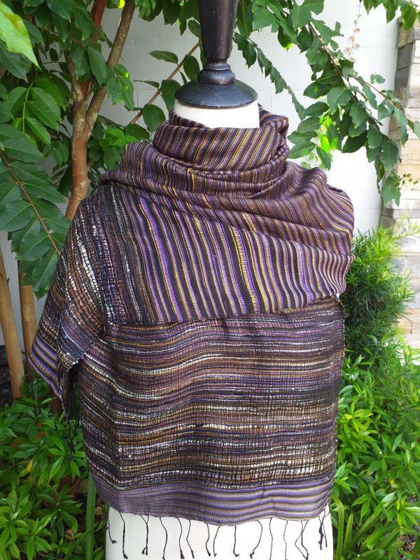 NTS952d Thai Silk Hand Spun Stylish Shawl