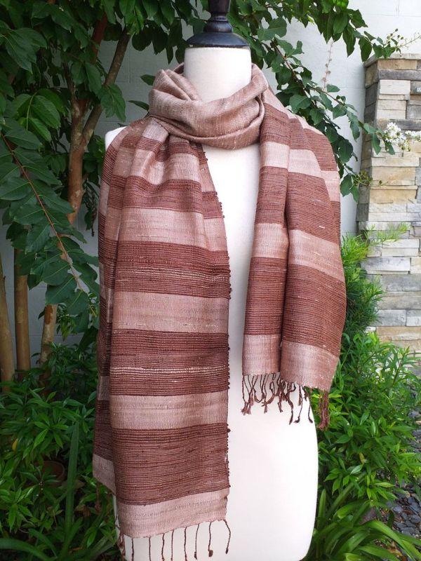 NWS042a Thai Silk Hand Woven Colorful Shawl