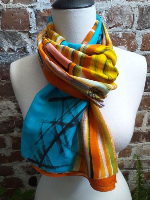 PIC435c 50 Cotton 50 Silk Scarf Hand Painted Unique Original Design