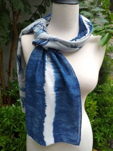 PIM005c 50 Cotton 50 Silk Scarf Hand Painted Original Indigo