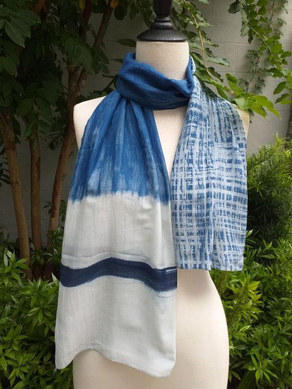 PIM015a 50 Cotton 50 Silk Scarf Hand Painted Original Indigo