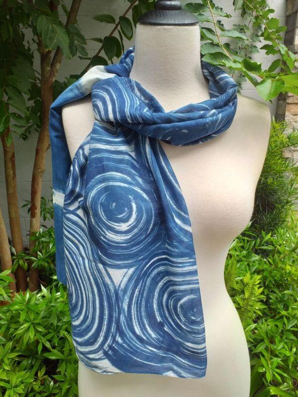 PIM024b 50 Cotton 50 Silk Scarf Hand Painted Unique Blue