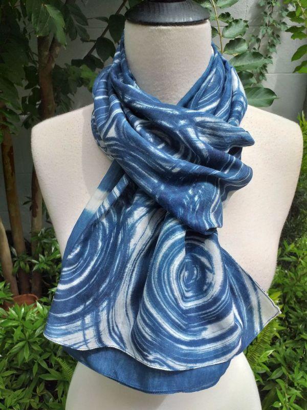 PIM024c 50 Cotton 50 Silk Scarf Hand Painted Unique Blue