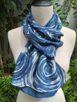 PIM024c 50 Cotton 50 Silk Scarf Hand Painted Unique Blue