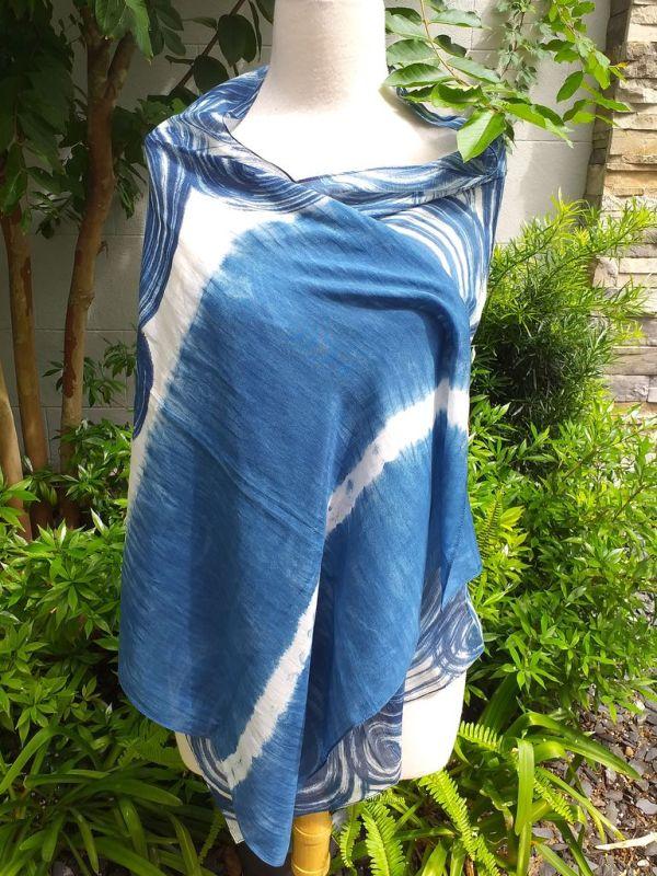 PIM024d 50 Cotton 50 Silk Scarf Hand Painted Unique Blue