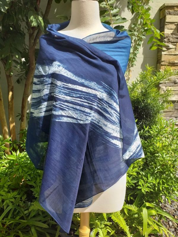 PIM026d 50 Cotton 50 Silk Scarf Hand Painted Unique Blue