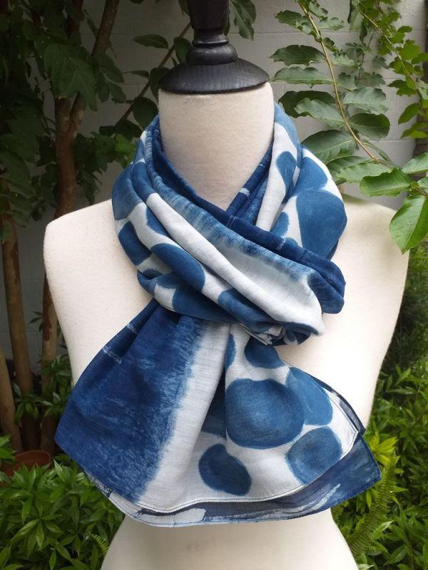 PIM037c 50 Cotton 50 Silk Scarf Hand Painted Unique Blue