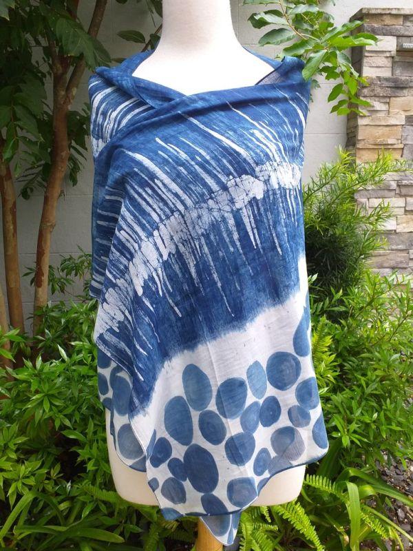 PIM037d 50 Cotton 50 Silk Scarf Hand Painted Unique Blue