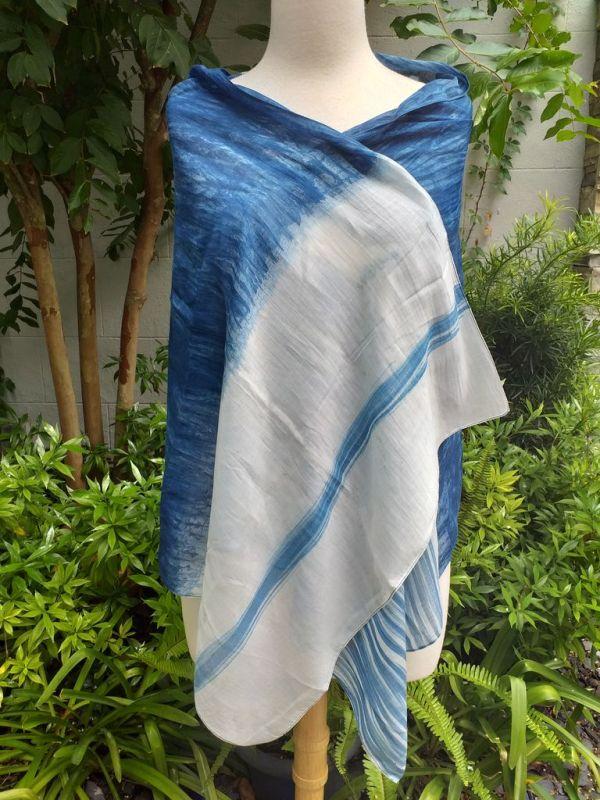 PIM051d 50 Cotton 50 Silk Scarf Hand Painted Unique Blue