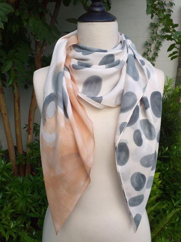 PIQ282b 50 Cotton 50 Silk Scarf Hand Painted Unique Square