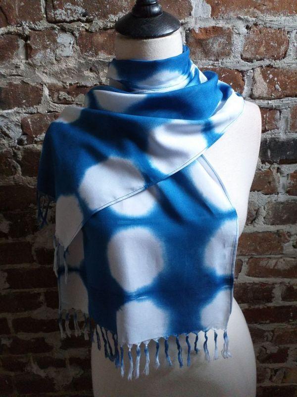 WEF775A Rayon Indigo Tie Dye Fringe Scarves