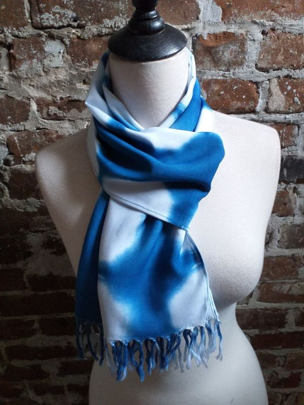 WEF775B Rayon Indigo Tie Dye Fringe Scarves