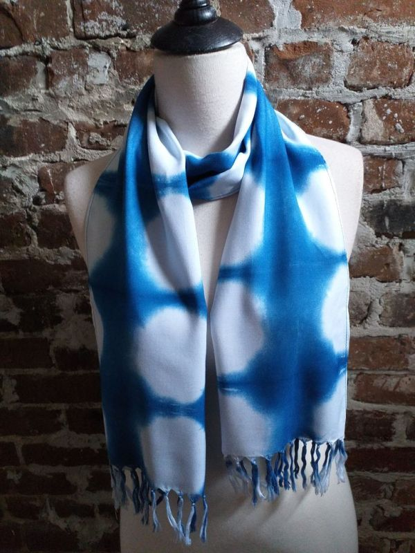WEF775C Rayon Indigo Tie Dye Fringe Scarves