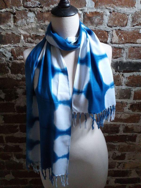 WEF775D Rayon Indigo Tie Dye Fringe Scarves