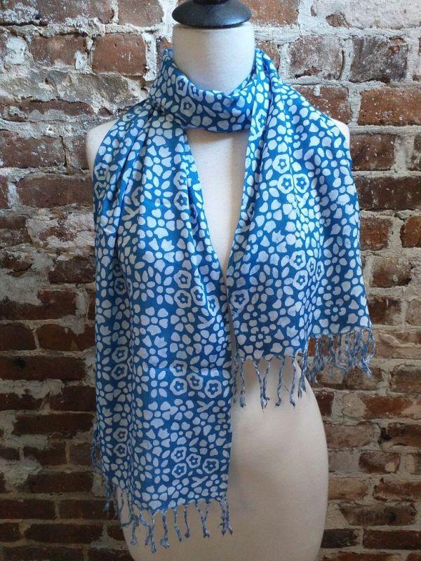 WEF803A Rayon Indigo Tie Dye Fringe Scarf