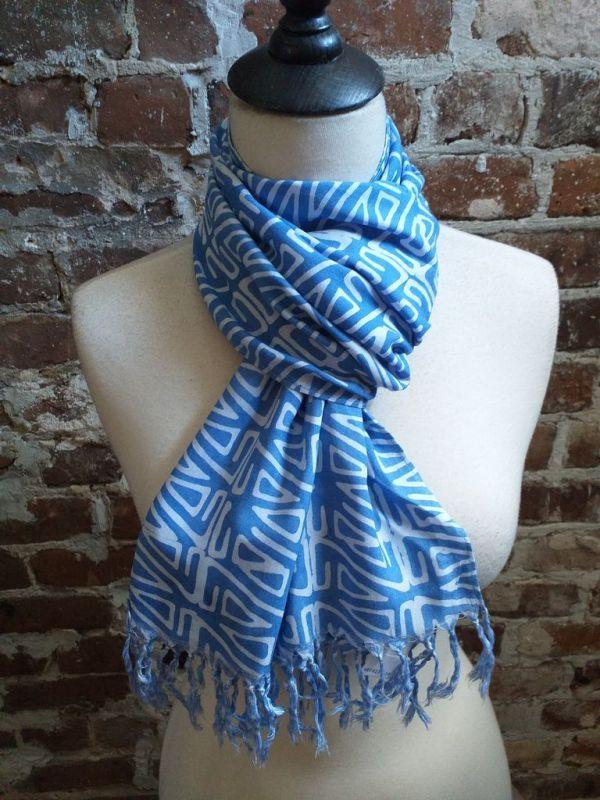 WEF813C Rayon Indigo Tie Dye Fringe Scarf