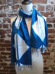 WEF851A Rayon Indigo Tie Dye Fringe Scarf
