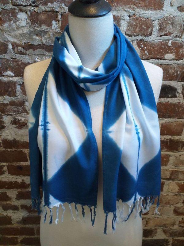 WEF851B Rayon Indigo Tie Dye Fringe Scarf