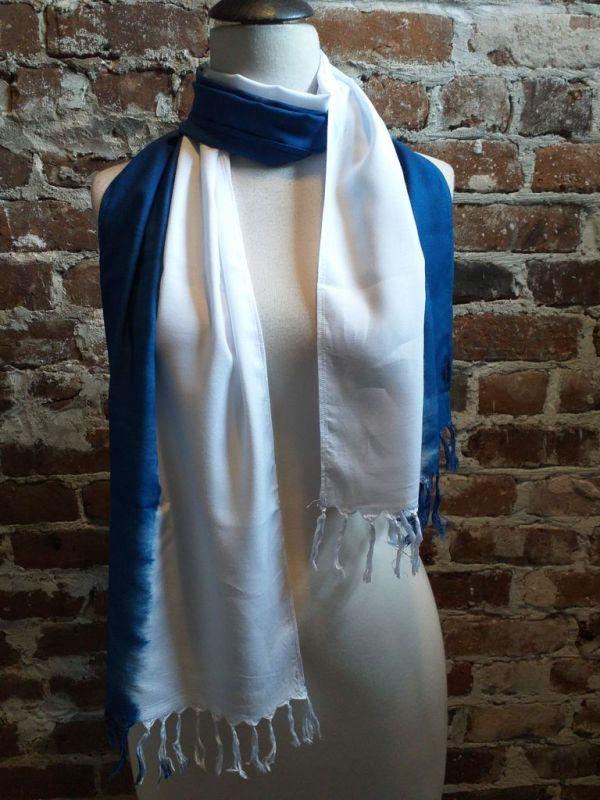 WEF865A Rayon Indigo Tie Dye Fringe Scarf