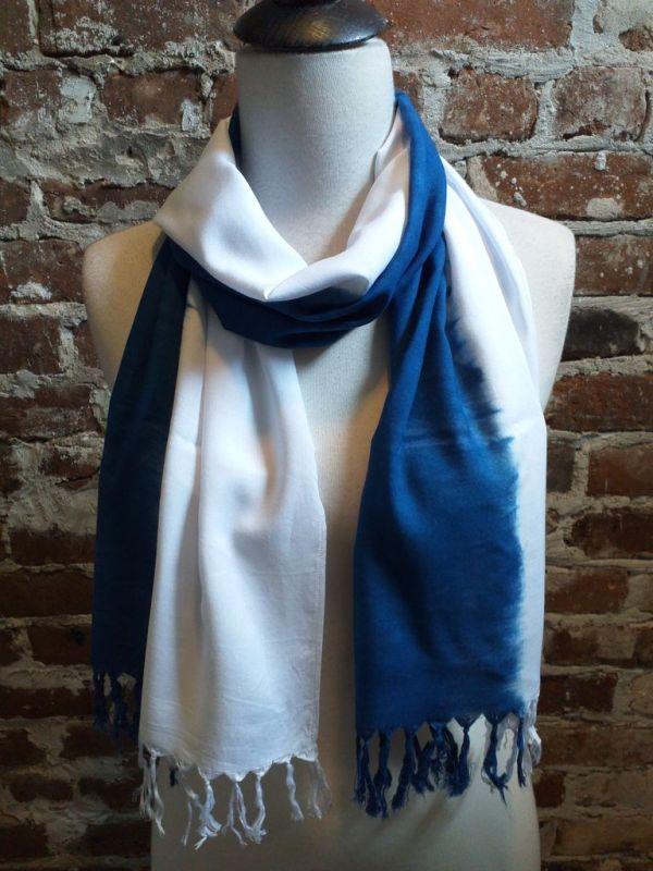 WEF865B Rayon Indigo Tie Dye Fringe Scarf