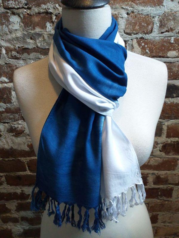 WEF865C Rayon Indigo Tie Dye Fringe Scarf