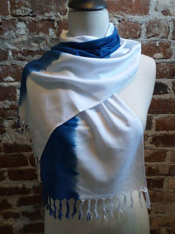 WEF865D Rayon Indigo Tie Dye Fringe Scarf