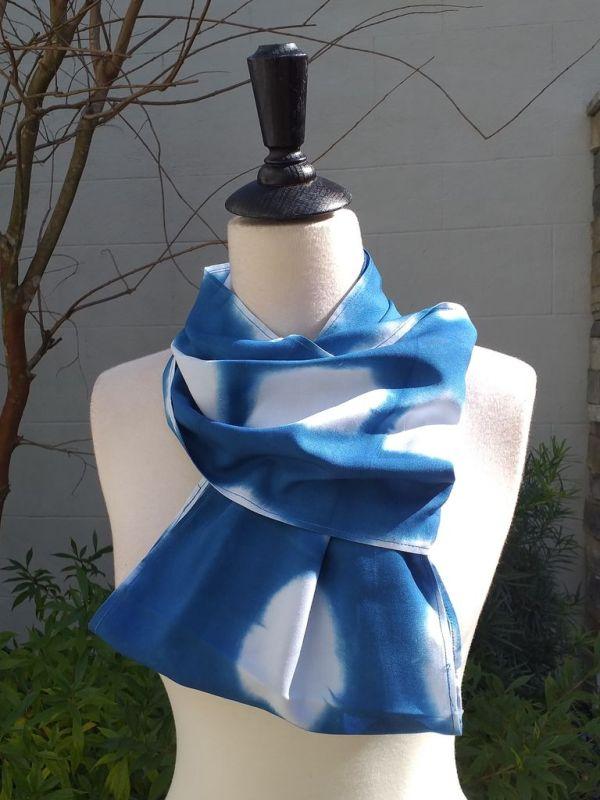 WEI775C Rayon Indigo Tie Dye Infinity Scarf