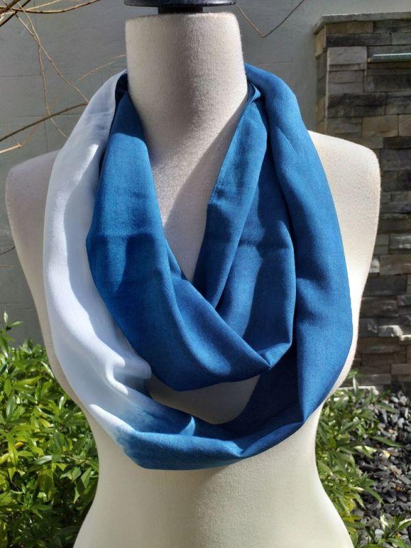 WEI784B Rayon Indigo Tie Dye Infinity Scarf