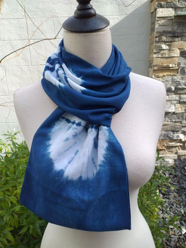 WEI793C Rayon Indigo Tie Dye Infinity Scarf