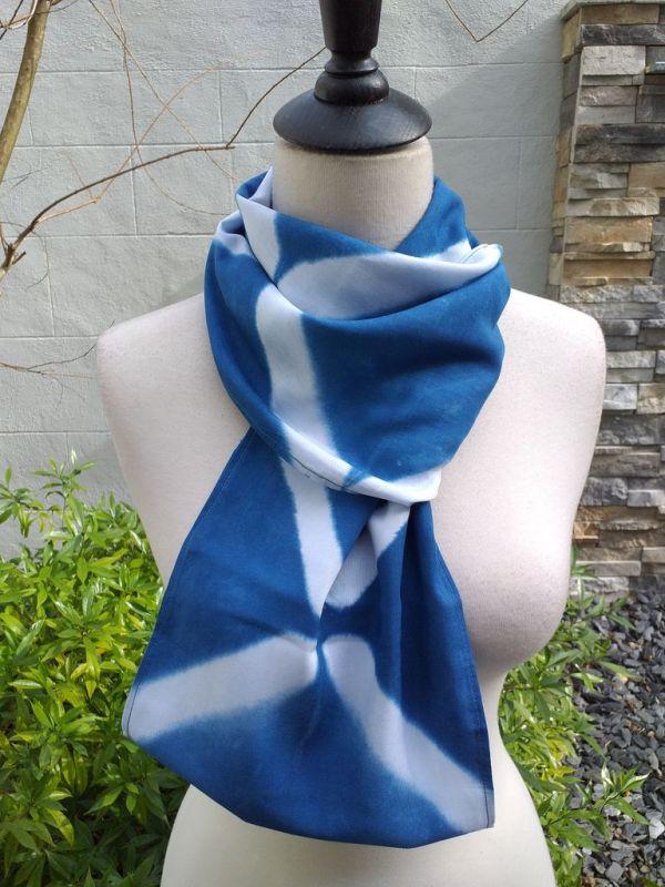 WEI824C Rayon Indigo Tie Dye Infinity Scarf