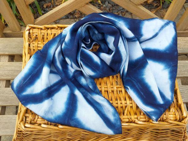 WEI825A Rayon Indigo Tie Dye Infinity Scarf