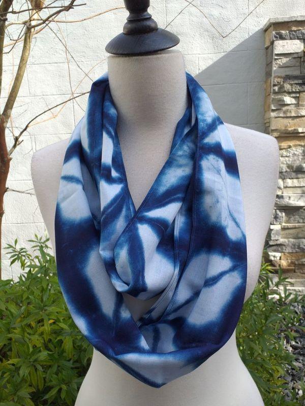 WEI825B Rayon Indigo Tie Dye Infinity Scarf