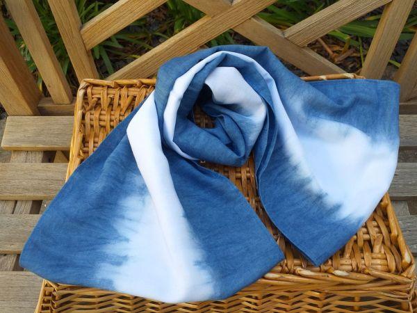 WEI826A Rayon Indigo Tie Dye Infinity Scarf