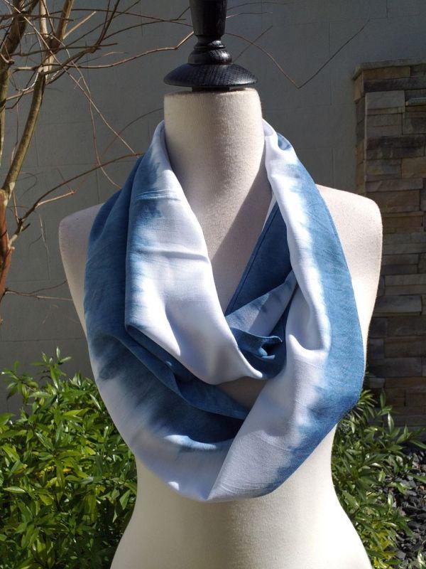 WEI826B Rayon Indigo Tie Dye Infinity Scarf