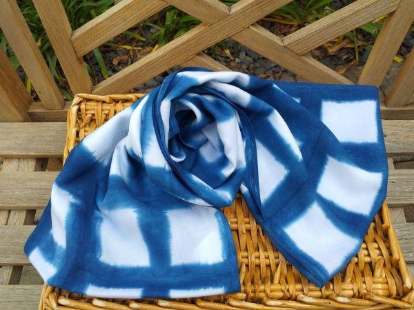 WEI850A Rayon Indigo Tie Dye Infinity Scarf