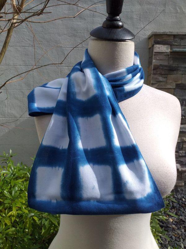 WEI850D Rayon Indigo Tie Dye Infinity Scarf