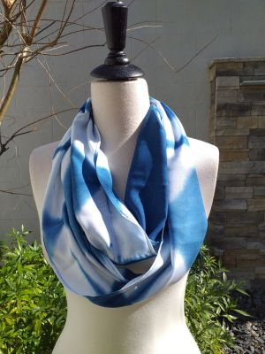 WEI851B Rayon Indigo Tie Dye Infinity Scarf