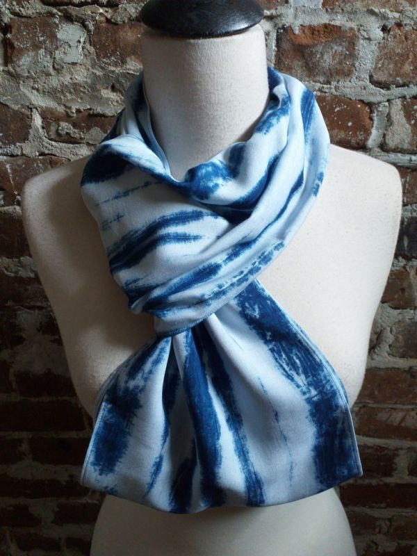 WEI867D Rayon Indigo Tie Dye Fringe Scarves