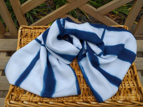 WEI901A Rayon Indigo Tie Dye Infinity Scarf