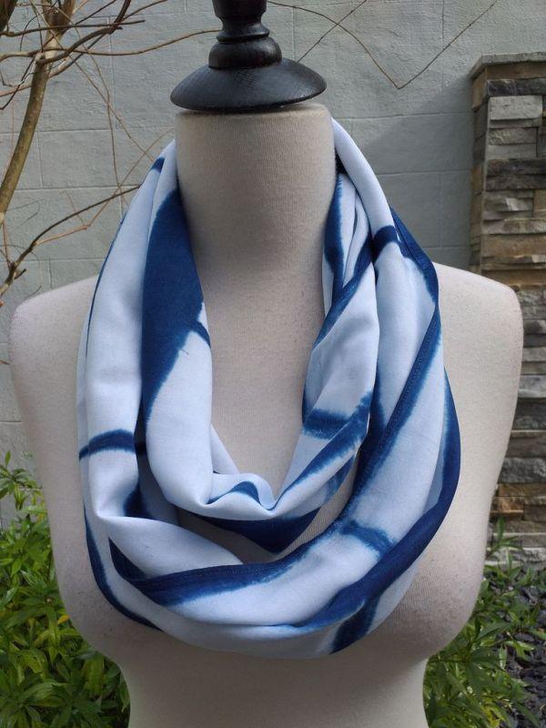 WEI901B Rayon Indigo Tie Dye Infinity Scarf