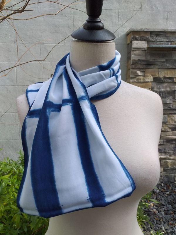 WEI901D Rayon Indigo Tie Dye Infinity Scarf
