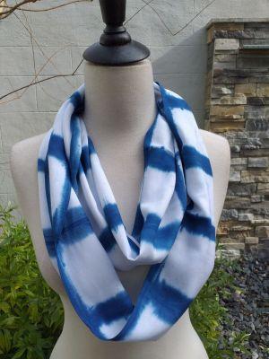 WEI907D Rayon Indigo Tie Dye Infinity Scarf