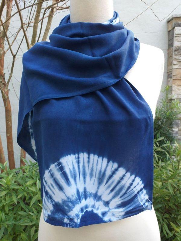 WES793C Rayon Indigo Tie Dye Scarves