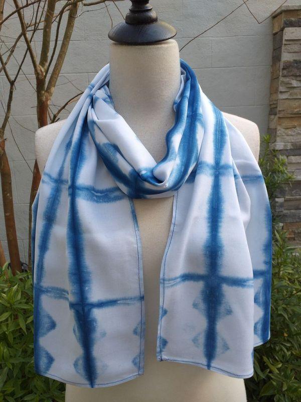 WES852B Rayon Indigo Tie Dye Scarves