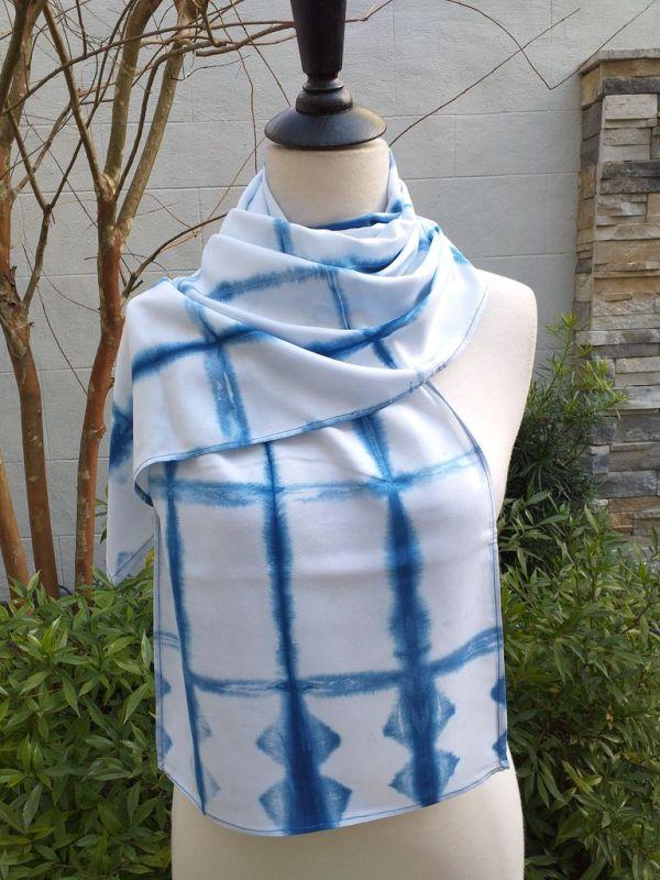 WES852C Rayon Indigo Tie Dye Scarves