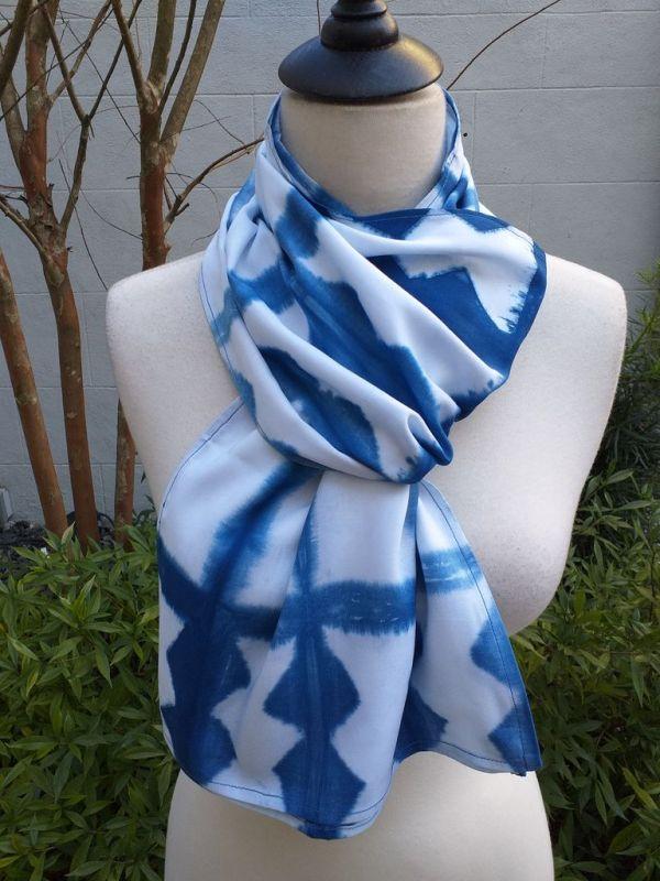 WES906D Rayon Indigo Tie Dye Scarves