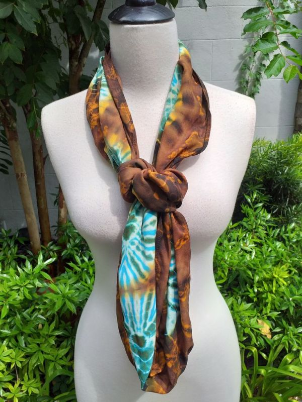 XCI971d Bright Color TieDye Rayon Infinity Scarf