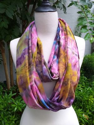 XDI603a Bright Color TieDye Rayon Infinity Scarf